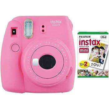 Fujifilm instax Mini 9 Instant Camera (Flamingo Pink) and instax Film Twin Pack (20 Exposures) Bundle