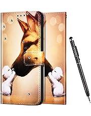 Uposao - Funda con Tapa para Samsung Galaxy A40, diseño de Estampado 3D, Compatible con Funda Samsung Galaxy A40 Billetera Diamante Glitter Brillante Carcasa,Perro