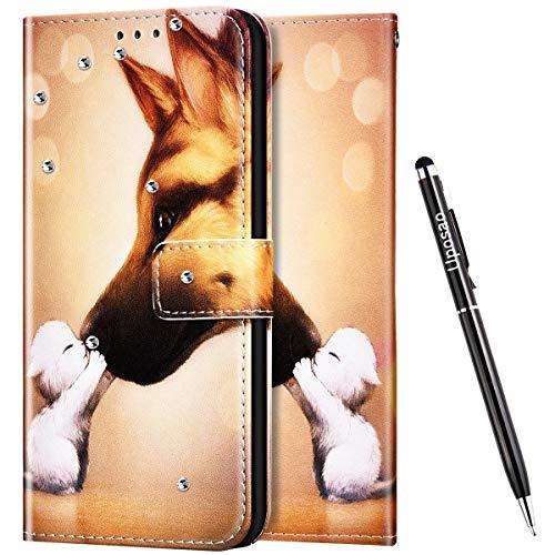 Uposao Kompatibel mit Samsung Galaxy A60 Hülle Leder Handyhülle Bunt Retro Muster Klapphülle Glänzend Glitzer Bling Strass Diamant Flip Case Schutzhülle Leder Tasche,Haustier Hund