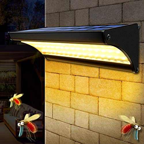 BRYSJ Potencia Solar Mosquito Repelente Lámpara de Pared al Aire Libre Impermeable 48 LED Luz Solar Anti Insecto Anti Insecto para la Pared de la casa del jardín