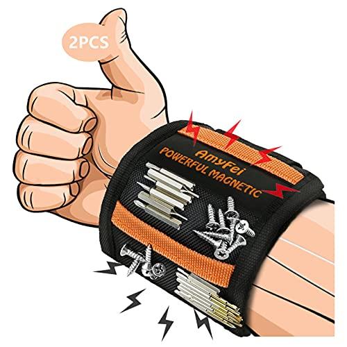 2PCS Magnetarmband Handwerker,Werkzeuggürtel mit 15 Supermagneten,Magnetic wristband Zur Befestigung Von Schrauben und Rotoren,Es ist das beste Geschenk für den Vatertag und den Muttertag
