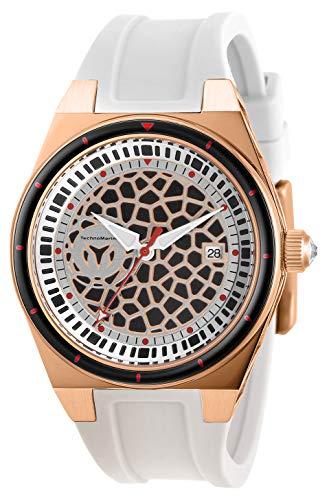 Technomarine Women's Technocell Stainless Steel Quartz Watch with Silicone Strap, White, 22 (Model: TM-318080)