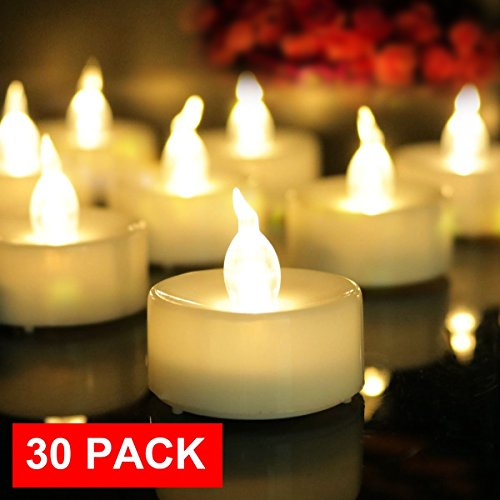 AMAGIC 30 Pack LED Tea Lights, Lasts 2X Longer, Flameless Tealights Candles with Flickering Warm White Light, Battery Operated Tea Lights Bulk for Halloween Pumpkin Decor, D1.4'' X H1.3''