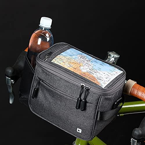 Asvert Fahrrad Lenkertaschen multifunktional Wasserdicht Fahrradtasche mit Regen Abdeckung für MTB Stadt Pendler (Lenkertaschen Grau)