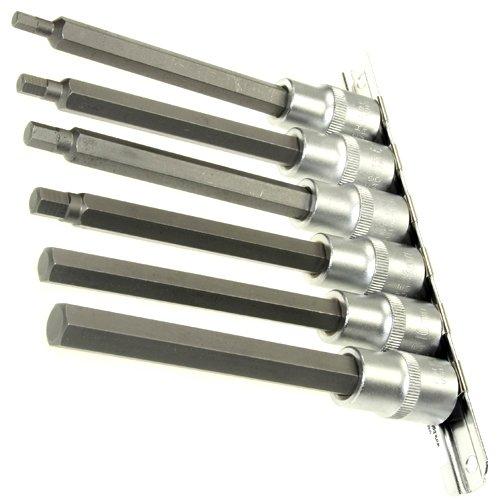 6 lange (140 mm) schroevendraaier-inzetstukken/schroevendraaier-inzetstukken binnenzeskant inzet/steekmoer sleutel voor binnenzeskant schroeven 5-12 mm op stekkerdoos van chroom-vanadium-staal.