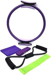 Coxeer 5PCS Resistance Band Set Professional Yoga Pilates Ring Latex Loop Band