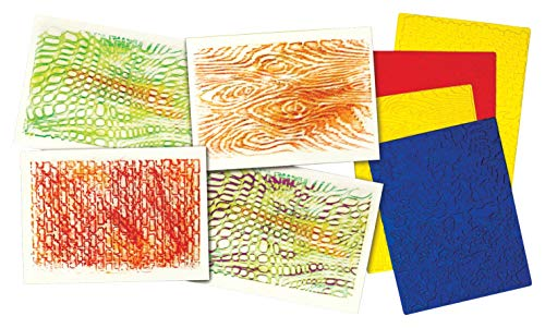 Roylco Texture Rubbing Plates with 8 Textures, 8-1/2 x 11 Inches, Set of 4