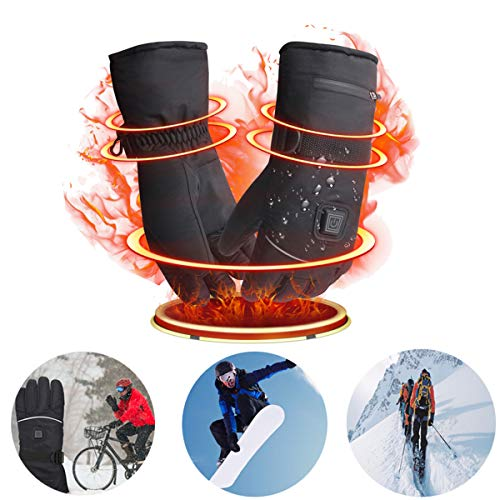 Guantes Calefactables Con batería recargable, 3 Temperaturas Ajustables, Hombre Mujer Invierno Guantes Moto Calefactables, Ideal para Esquí Senderismo Equitación, Con Función de Pantalla Táctil