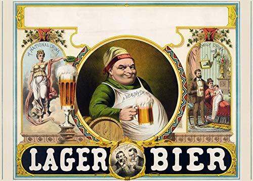 Vintage bieren, wijnen en sterke drank 'Lager Bier', Duitsland, 1879, 250gsm Zacht-Satijn Laagglans Reproductie A3 Poster