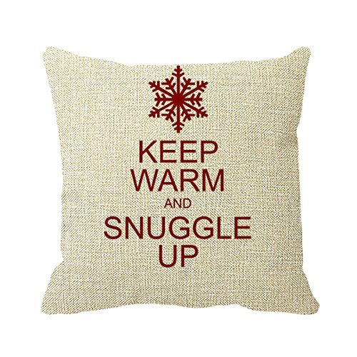 FPcustom Pillowcase Keep Warm and Snuggle Up Holiday Pillow Cover 16inch