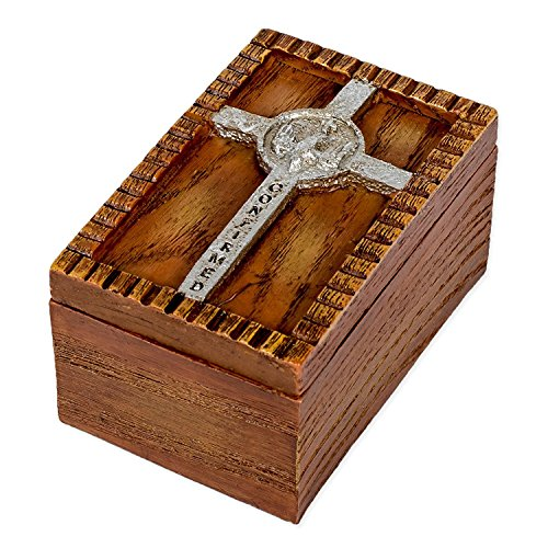 Roman Confirmed in Christ Wood Finish Small Confirmation Jewelry Keepsake Box