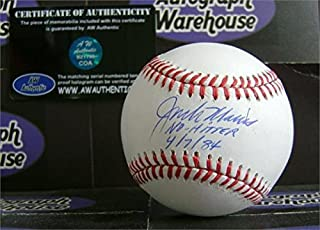 Jack Morris autographed Baseball inscribed No Hitter 4 7 84 (Detroit Tigers) AW Certificate of Authenticity with free display cube