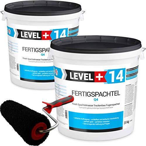 Glätt-Set Fertigspachtel 40kg Finish Feinputz Weiß + Profi Glättwalze 230mm Gipsspachtel Flächenspachtel Fein Spachtel SET210
