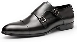 Banquet Wedding Dress Shoes,Men's Monk Shoes Office Business Leather Shoes Buckle Cowhide Footwear,Black-37