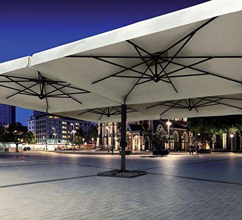 Parasol - Alu Poker Scolaro Carré 7x7m Acrylique Dralon 350g/m2 Terracotta A2 Avec volants