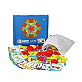 Sipobuy Creativo Di Legno Per Bambini Puzzle Di Puzzle, Blocchi Tangram Montessori Colourful Blocchi Di Costruzione Giocattoli Educativi Regali Per I Bambini Con 155 Forma Geometrica + 24 Carte