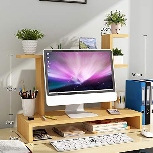 TopJiä Computer Bildschirmständer,Holz Monitorständer,Schreibtisch Stauraum Organizer Buche 1 Stufe+blumenständer