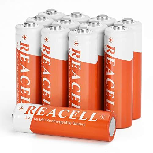 REACELL Solar AA Akku NiMH Batterien Wiederaufladbar für Solarleuchte, 1200mAh Mignon AA Accu Akkubatterien geringe Selbstentladung für Solarlampen Wegeleuchten Außen(12 Stück)