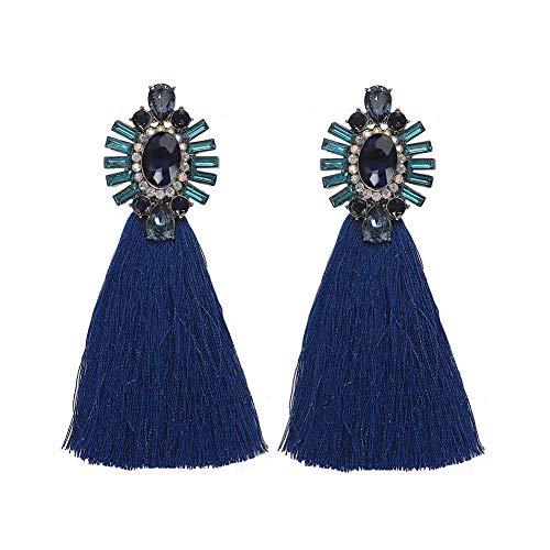 GGSDDU Women'S Fashion Rhinestone Earrings Long Line Tassel Drop Dangle Earrings Hypoallergenic Ear Jewelry Bohemian Style Christmas Valentine Girl Gift,Navy Blue