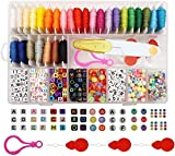 Peirich Friendship Bracelet Making Beads Kit, Letter Beads,22 Multi-Color Embroidery Floss Over 1900 pcs'A-Z' Alphabet Beads Beads Bracelets String Kit for Jewelry Making Christmas Birthday Gifts