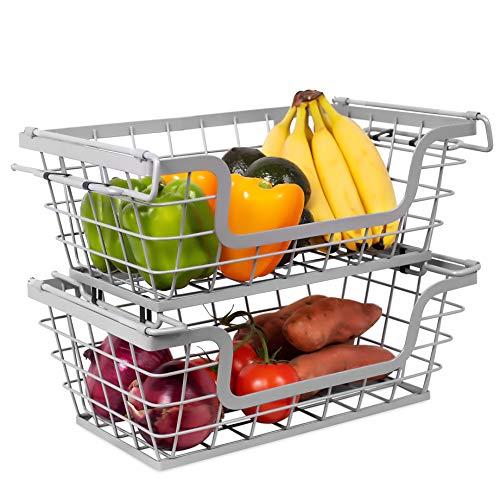 BirdRock Home Wire Basket for Storage - Set of 2 Baskets - Stackable - Hanging – Wall Shelf - Fruit Vegetable Organization – Pantry Cabinet - Metal Bin for Kitchen Counter – Bathroom Shelves Storage