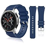 HSWAI Compatible with Samsung Galaxy Watch 46mm Bands/Gear S3 Frontier, Classic Watch Bands/Galaxy Watch 3 Bands 45mm, 22mm Soft Silicone Bands Bracelet Sports Strap for Men & Women.(Navy)