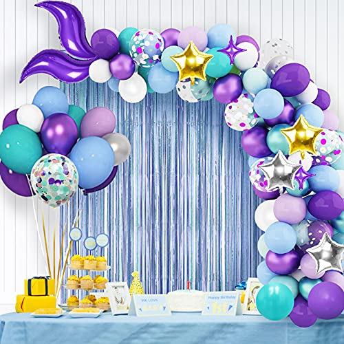 Kit ghirlanda di palloncini a sirena con tenda a frange in lamina, forniture per feste ad arco a coda di sirena con palloncini di coriandoli verdi viola per decorazioni per feste di compleanno sirena