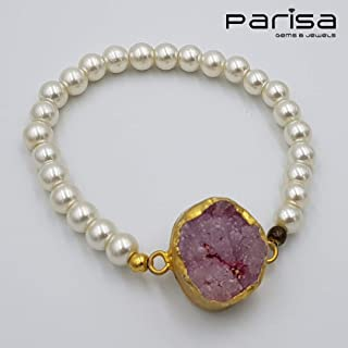 Ottoman Collection - Handmade gold plated bracelet with Amethyst stone.