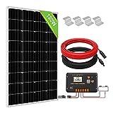 ECO-WORTHY Kit de Panel Solar de 120W + Controlador de Carga Solar de 20 A para Cargas del Sistema Sin Conexión a la Red, Batería de 12 V de Autocaravana/Barco