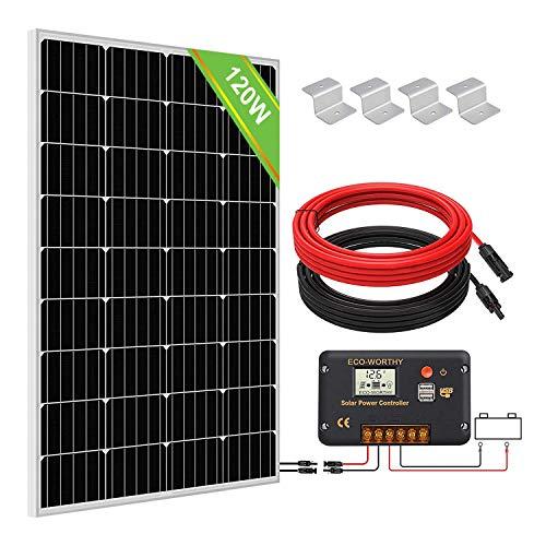 ECO-WORTHY Kit de Panel Solar de 120W + Controlador de Carga Solar de 30 A para Cargas del Sistema Sin Conexión a la Red, Batería de 12 V de Autocaravana / Barco