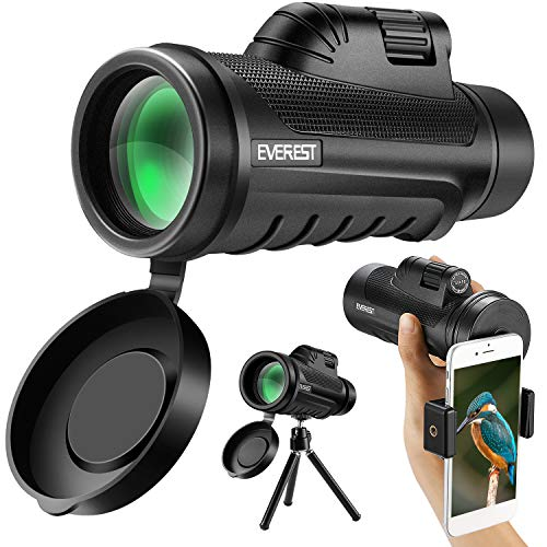 Eerest High Powered Monocular 12x50 with BAK4 Prism and FMC Coating for Smartphone Holder and Tripod, Telescope Perfect for Bird Watching Hiking Concerts Wildlife