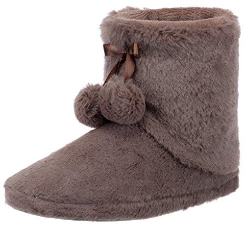 Brandsseller Zapatillas de estar por casa para mujer, forradas con pompón y suela antideslizante, color Beige, talla 36 EU