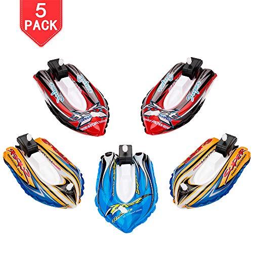 PROLOSO 5 Pack Bath Toys Inflatable Yacht Wind Up Toys Bathtub Clockwork Cochain Boats