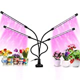 Yolispa Grow Lights for Indoor Plants, 40W Full Spectrum Grow Lamp Bulbs with 4 Head 80 LEDs, Auto ON & Off 3/9/12H Cycle Timer Outdoor Plants 360°Adjustable Gooseneck Plant Light with Clip