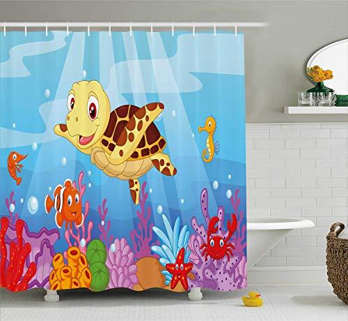 HYJDZKJY schildpad douchegordijn grappige cartoon stijl onderwater zee dieren baby schildpad en vis patroon doek stof badkamer Decor set met haken