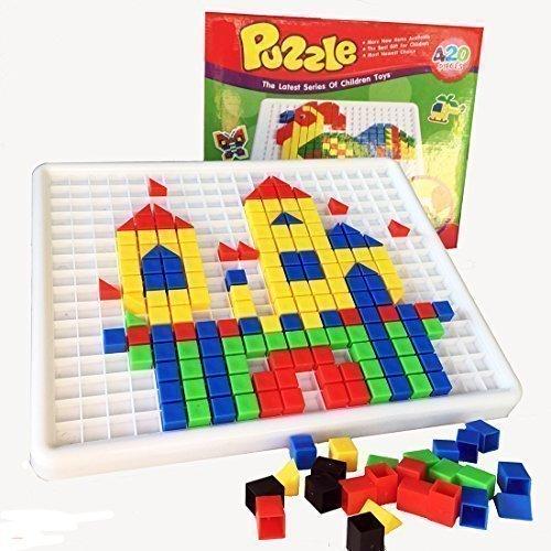 Gearmax® 420 Stück Construction Baukasten Mosaik-Spielzeug aus Kunststoff mit Bunt Intelligentes Spielzeug für ab 3 Jahre Alt