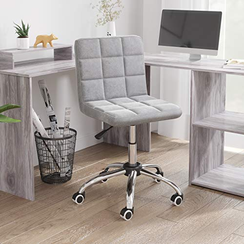 Desk Chair for Office,Grey Office Chair No Arms Comfy Padded Computer Chair Adjustable Height Swivel Chair Study Chair,Home/Office Furniture