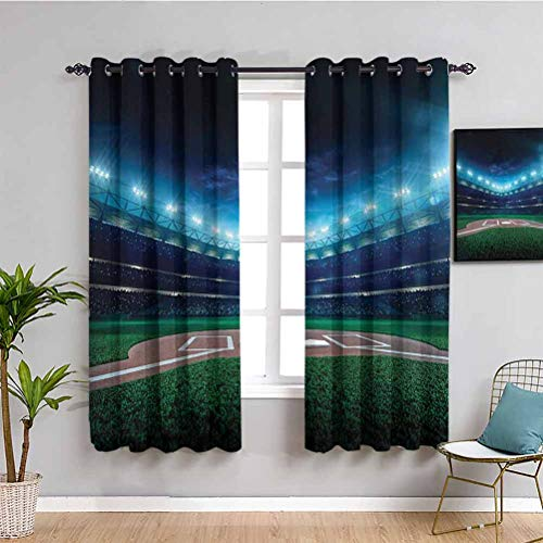 Sports Decor Printed Soundproof Privacy Window Curtains Professional Baseball Field at Night with Spotlights Playground Stadium League Theme Protective Furniture W72 x L84 Inch Green Blue