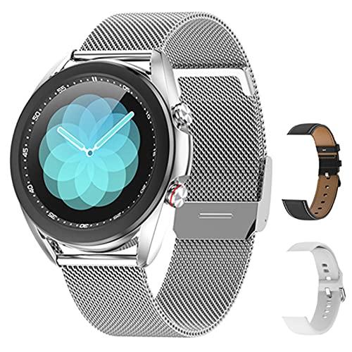 APCHY Mujer Smart Watch, Fitness Tracker Impermeable IP68 Blutooth Redondo Monitoreo Fisiológico Monitor De Ritmo Cardíaco Monitor De Notificación De Llamada Monitor,Plata