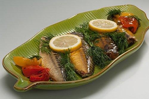 Urban Lifestyle Assiette de service en forme de feuille de bananier verte en porcelaine (47 cm)