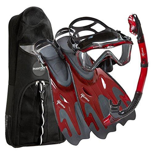Phantom Aquatics Legendary Mask Fin Snorkel Set with Mesh Bag, Black/Red, Medium/Large (9-12)