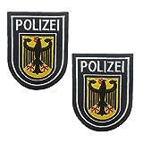 2 Stück Polizei-Aufnäher bestickt – Deutschland-Flagge B&espolizei Militär Taktische Moral Abzeichen Applikationen – Verschluss Klettverschluss Klettverschluss (a)