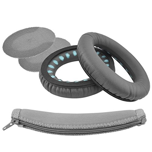 Geekria Replacement Ear Pads + Headband Cover for Bose SoundTrue Around-Ear, AE2, AE2i, AE2w Headphones Headband + Replacement Earpads, Headset Ear Cushion Repair Parts (Dark Grey)