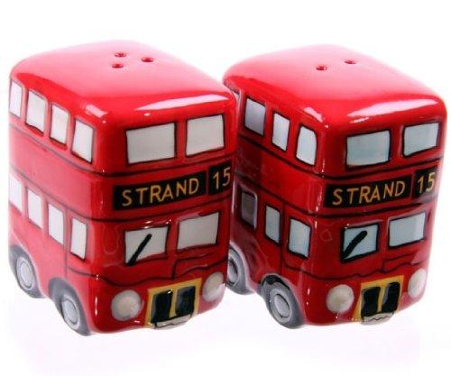 Set de bols à sel et au poivre London Route Master Bus rouge