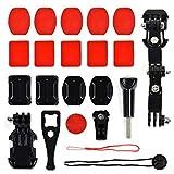 Kit di montaggio mentoniera per casco da motociclista per GoPro, action cam casco da motociclista, supporto per fotocamera da casco, kit di montaggio per rotazione a 3 vie girevole il mento del casco