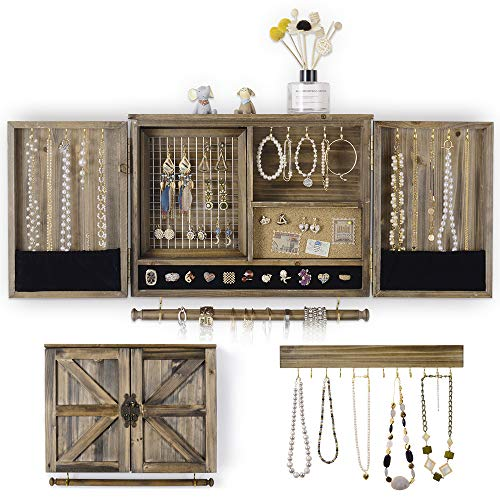 Ikkle Rustic Jewelry Cabinet Organizer Wall Mounted Jewelry holderwith Wooden Barn Door with Removable Bracelet Rod for Necklaces Earrings Bracelets Ring  Wood Jewelry Box