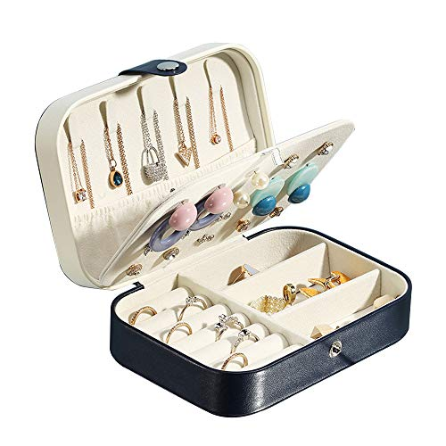 Yonzone Travel Jewelry Box for Girls Women, Small Premium PU Leather Jewelry Case Storage Double Layer Jewelry Organizer Holder for Necklace Earring Ring(Navy Blue)