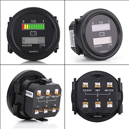 Indicador de batería con flash LED para advertencia de carga, visualización de gráfico de barras LED de 10 segmentos con medidor de horas, para carrito de golf