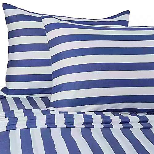 Pure Beech 100% Modal 3 Piece Jersey Knit Sheet Set Navy Blue and White Stripe Twin XL