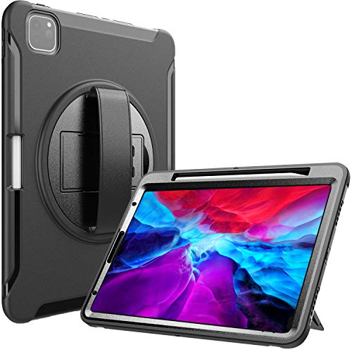 ProCase iPad Pro 12.9 Rugged Case 2020 & 2018 [Support Apple Pencil 2 Charging], Heavy Duty Shockproof Rotatable Kickstand Protective Cover for iPad Pro 12.9' 4th Gen 2020 / 3rd Gen 2018 -Black